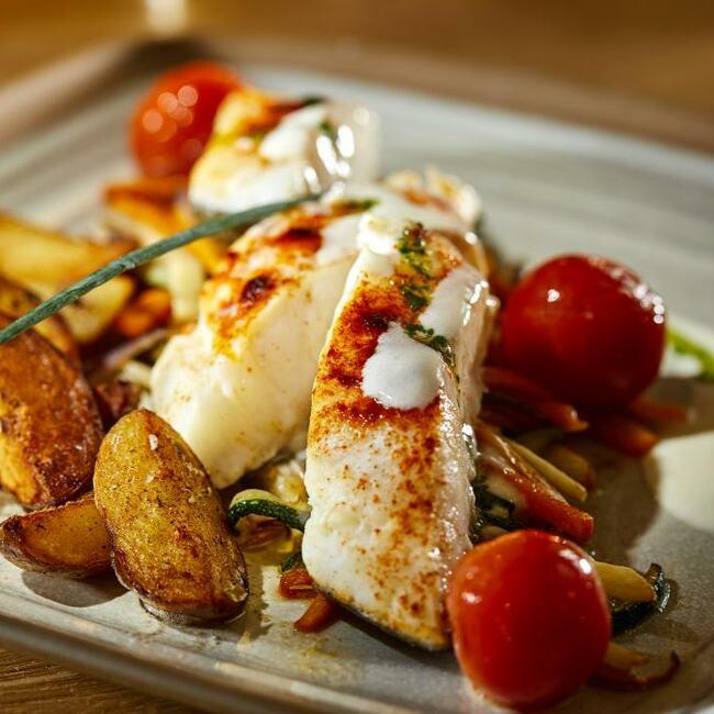 Codefish dish Biergarten