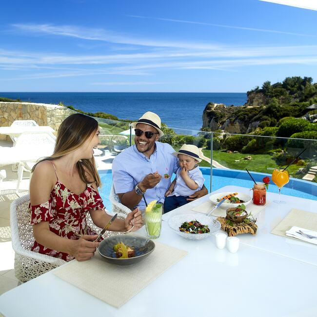 Family enjoying healthy breakfast