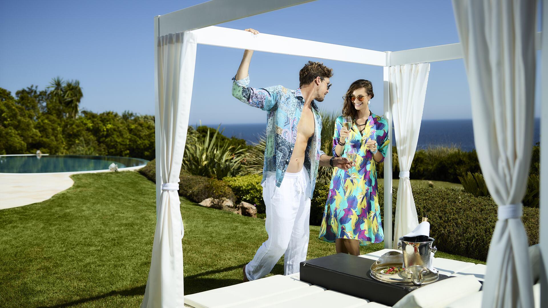 V-Life Fashion Shoot: Couple by pool.