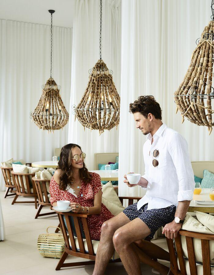 V-Life Fashion Shoot - Couple having breakfast.